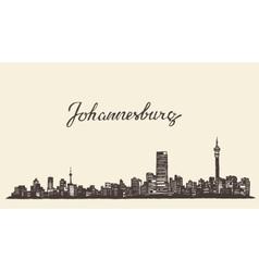 Johannesburg skyline engraved drawn sketch vector