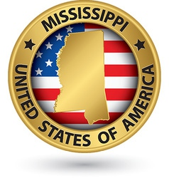 Mississippi state gold label with state map vector image vector image