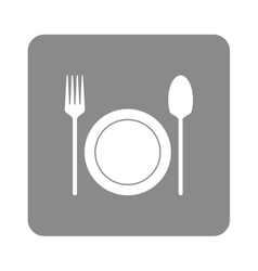plate with fork and spoon icon vector image