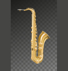 Saxophone music instrument on transparent vector