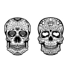 Set of hand drawn sugar skulls on white background vector