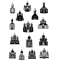 Temple church fane and shrine icons vector image