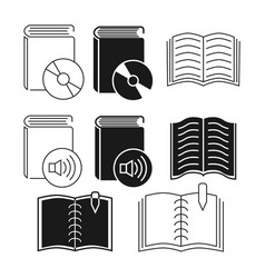 Thin line and outline book icons collection vector