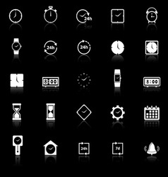 Time icons with reflect on black background vector image vector image