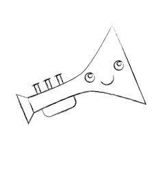 Trumpet musical instrument kawaii character vector
