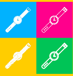 Watch sign four styles of icon on vector