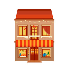winter image of the city christmas shop vector image vector image