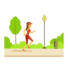 Woman running in sportive clothes on the street vector