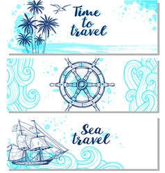 Blue horizontal marine banners vector