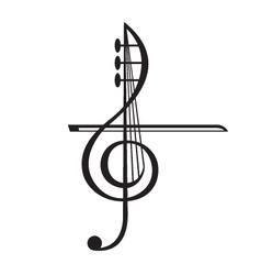 Violin and treble clef vector