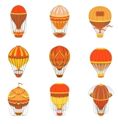 Retro hot air balloons set vector