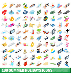 100 summer holidays icons set isometric 3d style vector image
