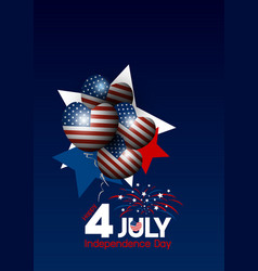 usa 4 of july happy independence day design vector image