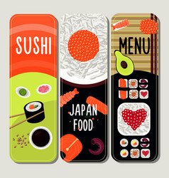 Traditional japanese food vertical banners vector
