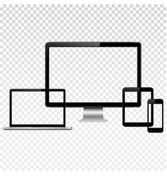 Modern digital devices with transparent screen vector