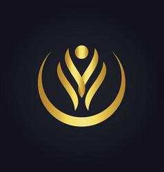 Happy beauty abstract spa gold logo vector
