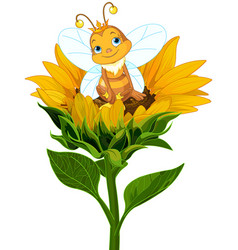Queen bee on sunflower vector
