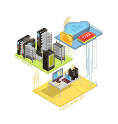 Data cloud isometric infographics vector
