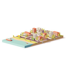 Low poly 2d buildings and city scene vector
