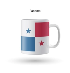 Panama flag souvenir mug on white background vector
