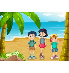 Children strolling at the beach vector image