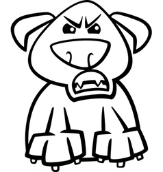 Furious dog cartoon coloring page vector