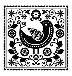 Folk art black pattern with bird and flowers vector