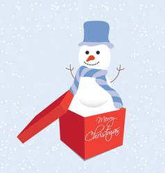 Snowman in gift box christmas vector