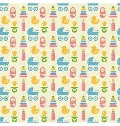 Seamless colored baby items pattern vector