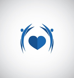 Blue heart care logo vector