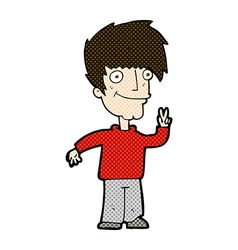 Comic cartoon man giving peace sign vector