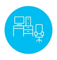 Computer set with table and chair line icon vector
