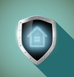House on the metal shield vector