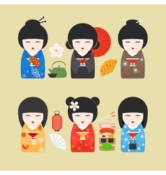 Japan dolls with fans and lanterns vector image