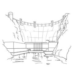 Outline hydroelectric dam vector