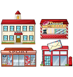A school donut store sport shop and a post office vector