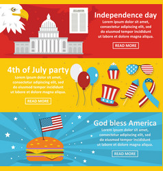 America holiday banner horizontal set flat style vector