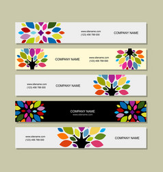 banner set art tree design vector image vector image