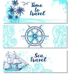 Blue horizontal marine banners vector image