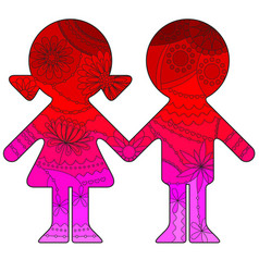 Boy and girl with transition colors vector