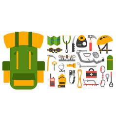 Climbing trekking equipment set vector