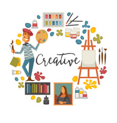 creative poster with artist and tools to paint vector image