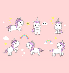 cute unicorns cartoon happy fun baby unicorn vector image