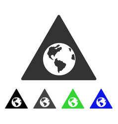 Earth warning flat icon vector