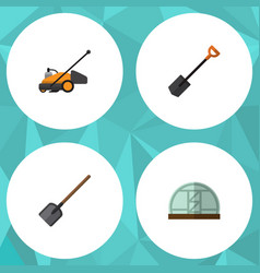 Flat icon garden set of lawn mower shovel vector