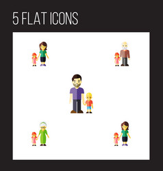 flat icon relatives set of grandchild daugther vector image