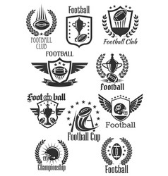 football rugby symbols for championship cup vector image