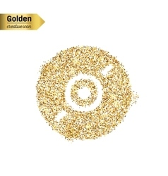 Gold glitter icon of cd disk isolated on vector
