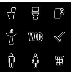 Line toilet icon set vector