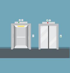 Open and closed elevator doors vector